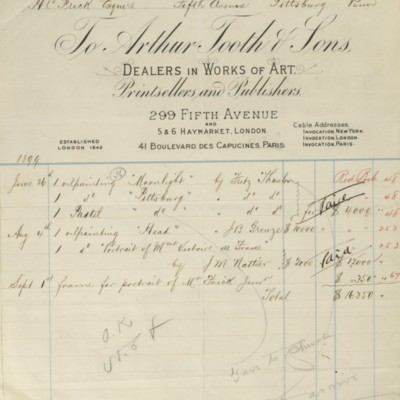 Account summary from Arthur Tooth & Sons, 30 December 1899.