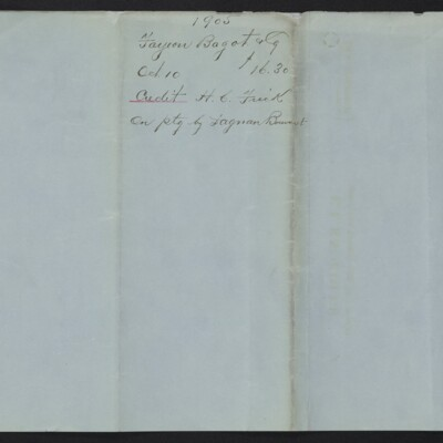 Credit bill from Farjeon, Bagot & Co. to H.C. Frick, 10 October 1905 [back]