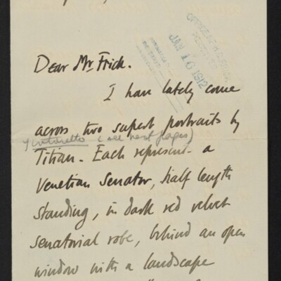 Lette from Roger E. Fry to [H.C.] Frick, 23 September 1907 [page 1 of 3]