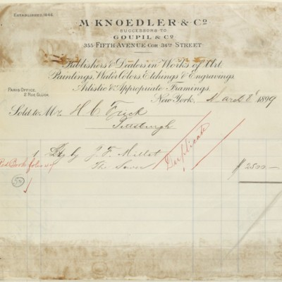 M. Knoedler & Co. Invoice, 8 March 1899