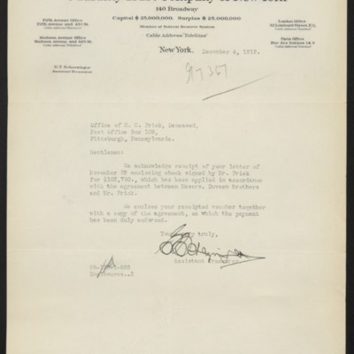 Letter from G.T. Scherzinger to Office of Henry Clay Frick, 4 December 1919