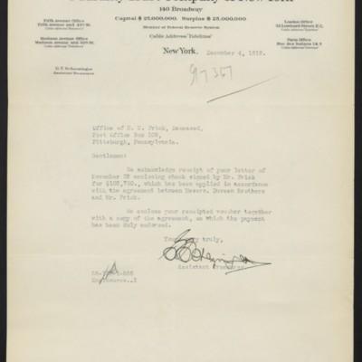 Letter from G.T. Scherzinger to Office of Henry Clay Frick,4 December1919
