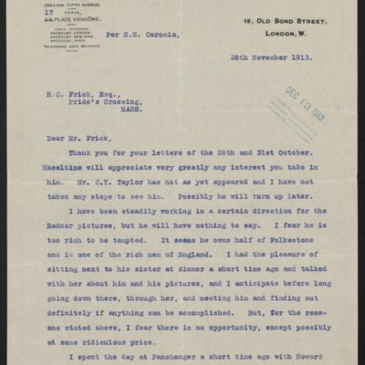 Letter from Charles S. Carstairs to Henry Clay Frick, 28 November 1913