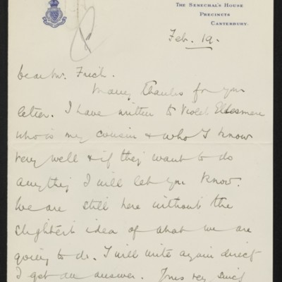 Letter from Alfred Anson to [Henry Clay] Frick, 19 February 1916