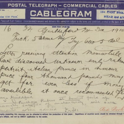 Telegram from Roger E. Fry to Henry Clay Frick, 24 December 1910