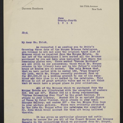 Letter from Joseph Duveen to Henry Clay Frick, 24 June 1916