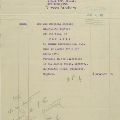 Duveen Brothers Invoice, 13 April 1916