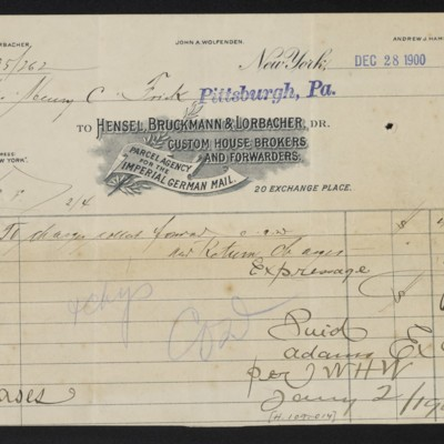 Invoice from Hensel, Bruckmann & Lorbacher to Henry Clay Frick, 28 December 1900