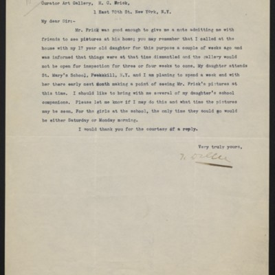 Letter from Theodore Diller to H.C. Frick, 6 October 1919