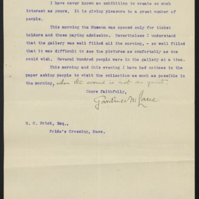 Letter from Gardiner M. Lane to H.C. Frick, 5 December 1910 [page 2 of 2]