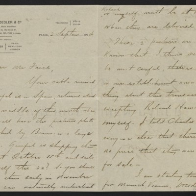 Letter from Charles S. Carstairs to Henry Clay Frick, 2 September 1904 [page 1 of 2]