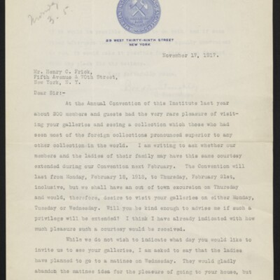Letter from Bradley Stoughton to Henry C. Frick, 17 November 1917 [page 1 of 2]