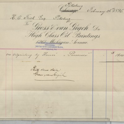 Gross & van Gigch Invoice, 26 February 1896