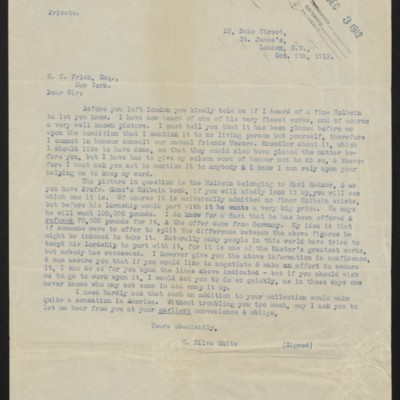 Copy of a letter from H. Silva White to H.C. Frick, 9 October 1912 [front]