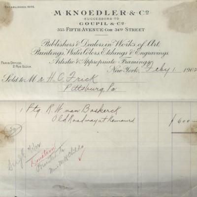 M. Knoedler & Co. Invoice, 1 February 1902