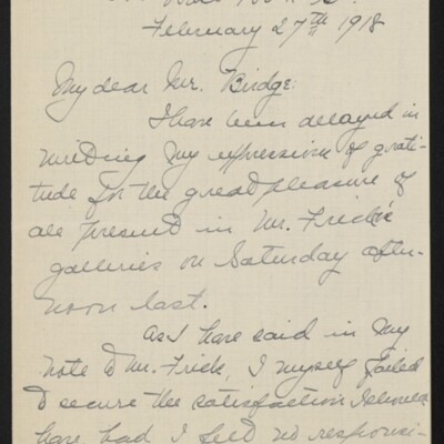 Letter from Jane Fitz Turner to [J. Howard] Bridge, 27 February 1918 [page 1 of 4]