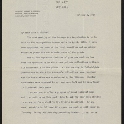 Letter from Edith R. Abbot to Ruth Williams, 2 October 1917 [page 1 of 2]