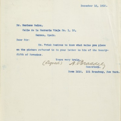 Letter from A. Braddel to Mariano Sainz, 15 December 1910