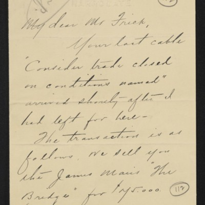 Letter from Charles S. Carstairs to [Henry Clay] Frick, 1 September 1906 [page 1 of 3]