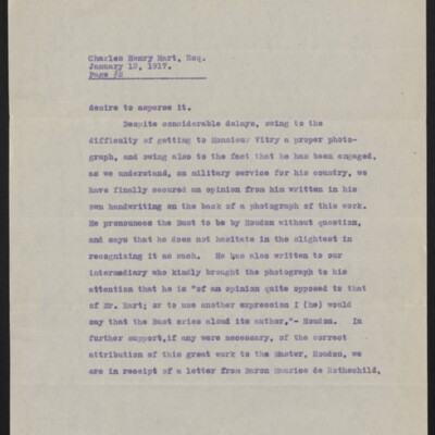 Copy of a letter from [Duveen Brothers] to Charles Henry Hart, 13 January 1917 [page 2 of 5]
