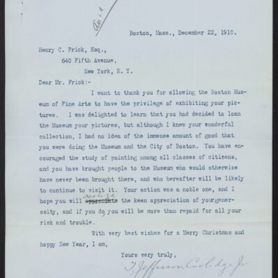Letter from T. Jefferson Coolidge Jr. to Henry C. Frick, 22 December 1910