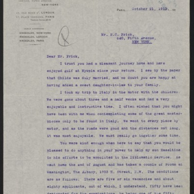 Letter from Charles S. Carstairs to Henry Clay Frick, 21 October 1913
