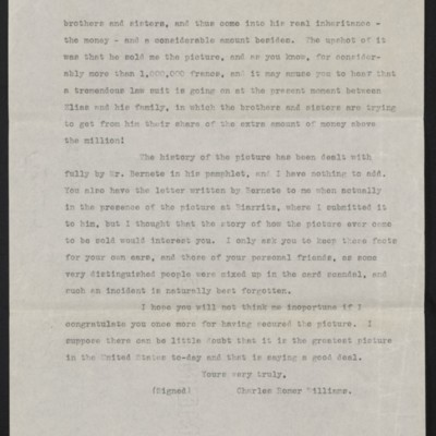 Copy of a letter from Charles Romer Williams to [Henry Clay] Frick, 27 February 1911 [page 3 of 4]