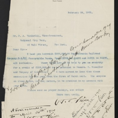 Letter from Henry Clay Frick to National City Bank, 28 February 1908