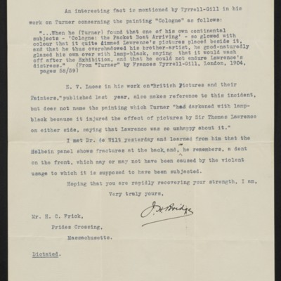 Letter from J.H. Bridge to H.C. Frick, 14 October 1914 [page 2 of 2]