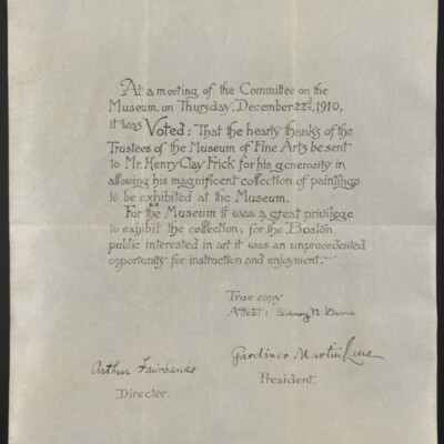 Resolution of the Trustees of the Museum of Fine Arts, Boston, 22 December 1910