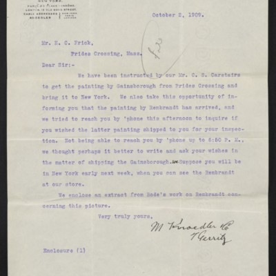 Letter from M. Knoedler & Co. to H.C. Frick, 2 October 1909 [front]