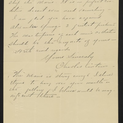 Letter from Charles S. Carstairs to [Henry Clay] Frick, 1 September 1906 [page 3 of 3]