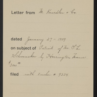 Memorandum, Office of Henry Clay Frick, 30 January 1909