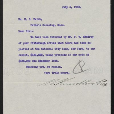 Letter from M. Knoedler & Co. to Henry Clay Frick, 6 July 1908