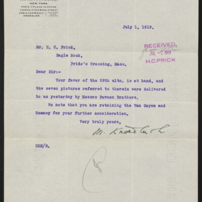 Letter from M. Knoedler & Co. to H.C. Frick, 1 July 1919