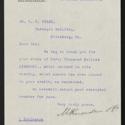 Letter from M. Knoedler & Co. to Henry Clay Frick, 22 November 1899