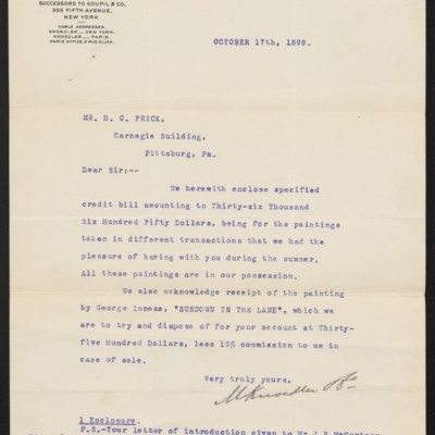 Letter from M. Knoedler & Co. to Henry Clay Frick, 17 October 1899