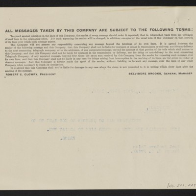 Cable from H.C. Frick to [James H. Dunn], 25 July 1914 [back]