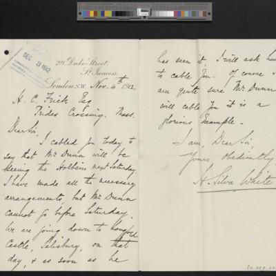 Letter from H. Silva White to H.C. Frick, 4 November 1912
