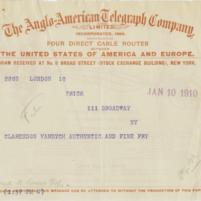 Cable from Roger E. Fry to Henry Clay Frick, 10 January 1910