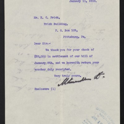Letter from M. Knoedler & Co. to H.C. Frick, 11 January 1910 [front]