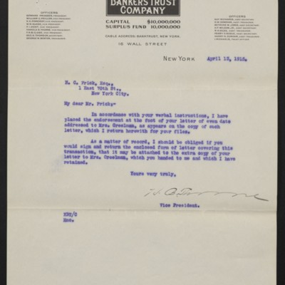 Letter from Bankers Trust Co. to H.C. Frick, 13 April 1915