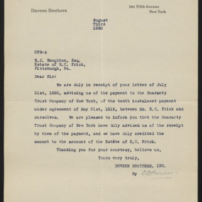 Letter from Duveen Brothers to W.J. Naughton, 3 August 1920
