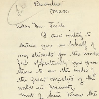 Letter from Edmund Tarbell to Henry Clay Frick, [1909]