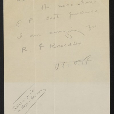 Note from Henry Clay Frick to F.W. McElroy, [1908]