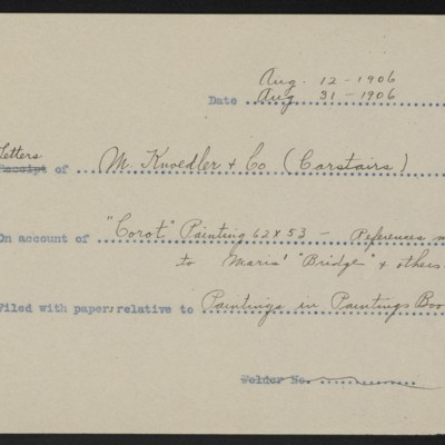 Memorandum, Office of Henry Clay Frick, August 1906