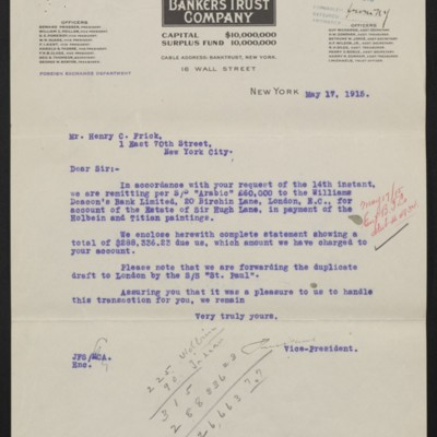 Letter from Bankers Trust Co. to Henry C. Frick, 17 May 1915