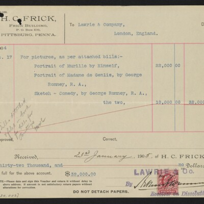 Voucher from H.C. Frick to Lawrie & Co., 11 January 1905 [back]