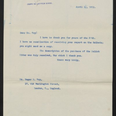 Letter from [Henry Clay Frick] to Roger E. Fry, 10 April 1911