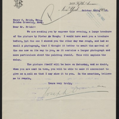 Letter from Joseph Duveen to Henry Clay Frick, 24 October 1912